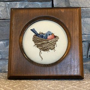 Accents - Vintage Hand Stitched Needlepoint Bird in Nest